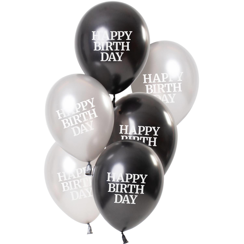 Feestbazaar Ballonnen Happy Birthday Gloss Zwart/Zilver (6st) online kopen