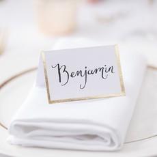 Bruiloft Naamkaartjes Goud/Wit (10st)