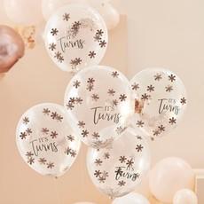 Rose gouden Confetti ballonnen 'It's Twins' (5st)