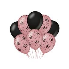 Ballonnen 16 Jaar Roze/Zwart (8st)