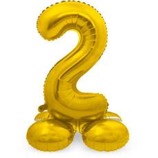 Goudkleurig Folieballon Cijfer 2 op Standaard (72 cm)