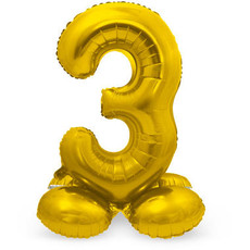 Goudkleurig  Folieballon  Cijfer 3 op Standaard (72 cm)