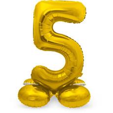 Goudkleurig  Folieballon Cijfer 5 op Standaard  (72 cm)
