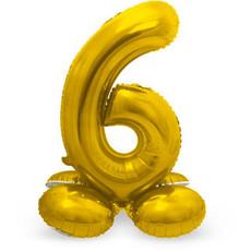 Goudkleurig Folieballon Cijfer 6 Op Standaard (27cm)