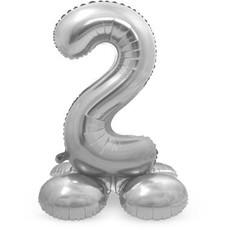 Zilverkleurig Folieballon Cijfer 2  Op Standaard (72 cm)