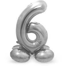 Zilverkleurig  Folieballon  Cijfer 6 Op Standaard (72 cm)