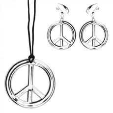 Peace ketting + oorbellen