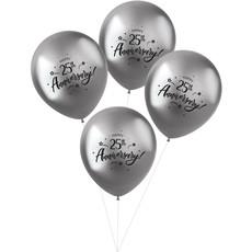 Ballonnen Metallic Zilver '25th Anniversary' (4 st)