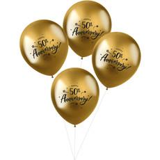 Ballonnen Metallic Goud '50th Anniversary' (4 st)