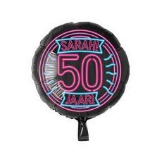 Neon Folieballon Sarah 50 Jaar - 46cm