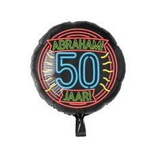 Neon Folieballon Abraham 50 Jaar - 46cm