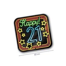 Huldeschild Happy! 21 Jaar Neon
