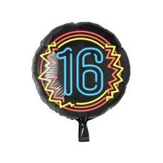 Neon Folieballon 16 jaar Blauw - 46cm