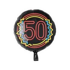 Neon Folieballon 50 jaar Rood - 46cm