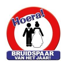 Huldeschild Bruidspaar Verkeersbord