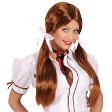 Pruik schoolmeisje bruin