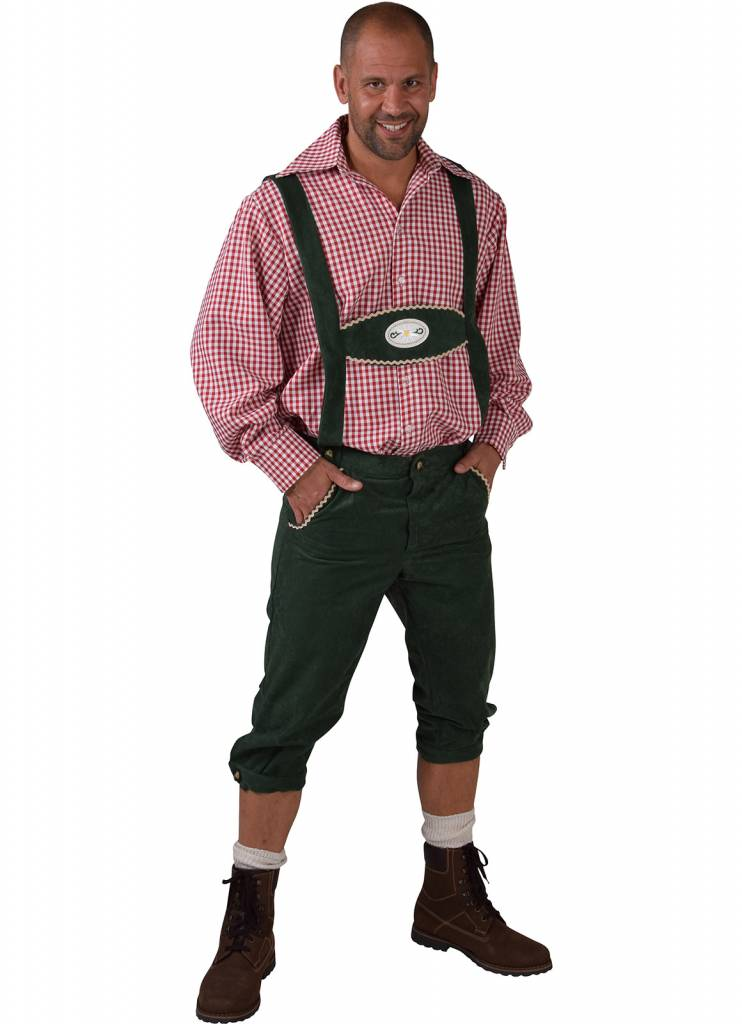 Tiroler kleding: Broek met bretels Edelweiss groen