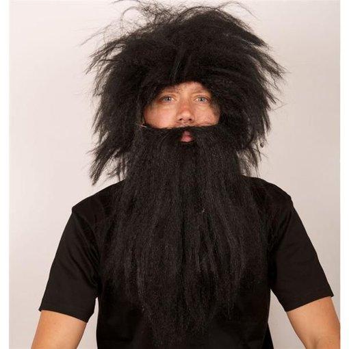 Pruik Holbewoner + baard zwart