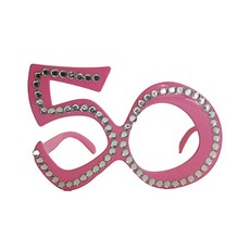 Funbril 50 met steentjes roze