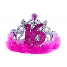 Tiara roze bont sweet 16