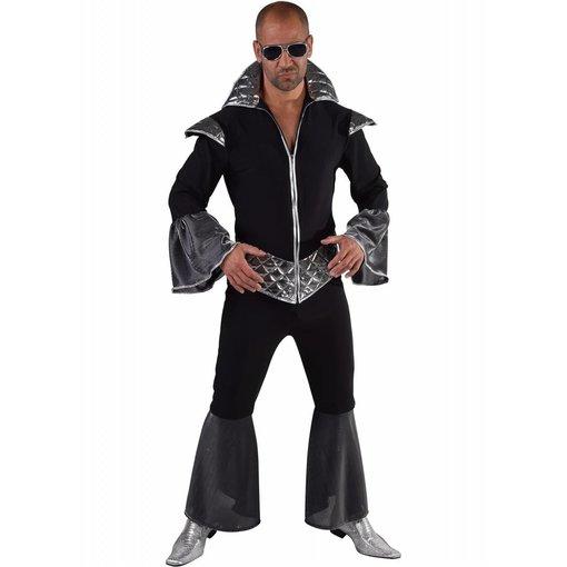 Disco koning kostuum elite zwart/zilver