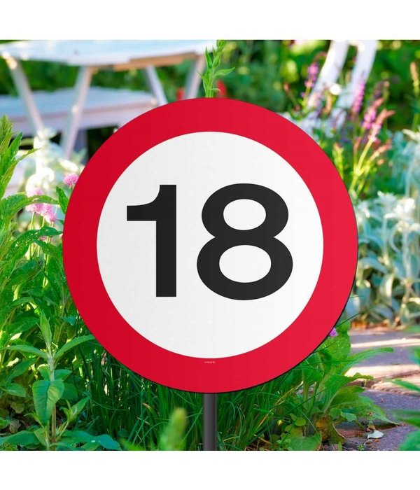Tuinbord Verkeersbord 18 jaar