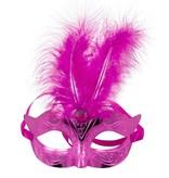 Venetiaans masker metallic magenta