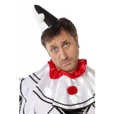 Punthoed Pierrot zwart/wit