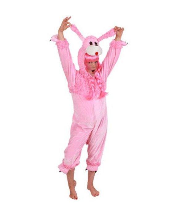 Kostuum Poedel roze pluche