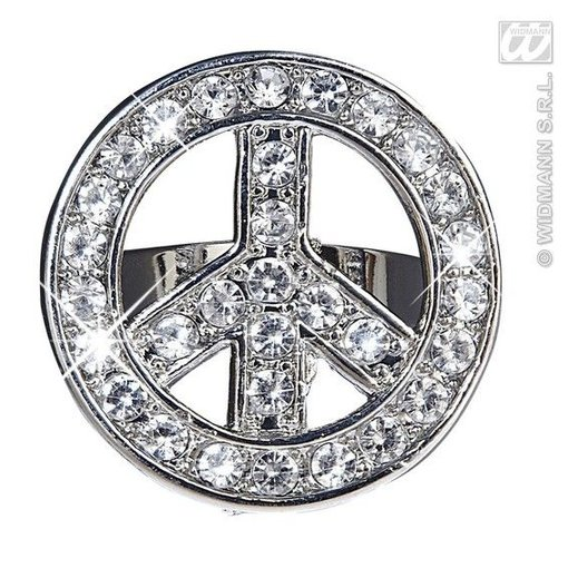 Peace and Love ring strass