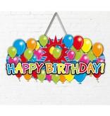 Deurbord 3d balloons Happy Birthday