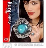 Gothic schedelring met lichtblauwe gemsteen