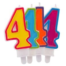 Kaars cijfer 4 in vrolijke kleuren