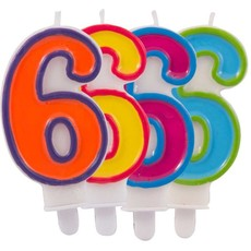 Kaars cijfer 6 in vrolijke kleuren