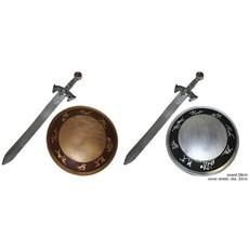 Wapenset schild & zwaard Ridder Deluxe brons/zilverkleurig