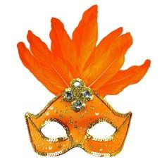 Oogmasker met veren en parels neon oranje