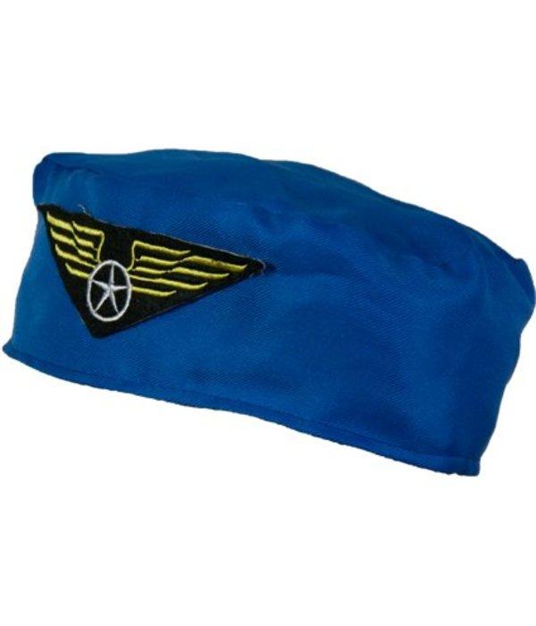 Blauw Stewardessen hoedje