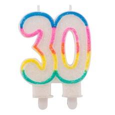 30 Jaar Glitterkaarsjes met 2 houders