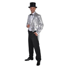 Slipjas pailletten gevoerd zilver luxe