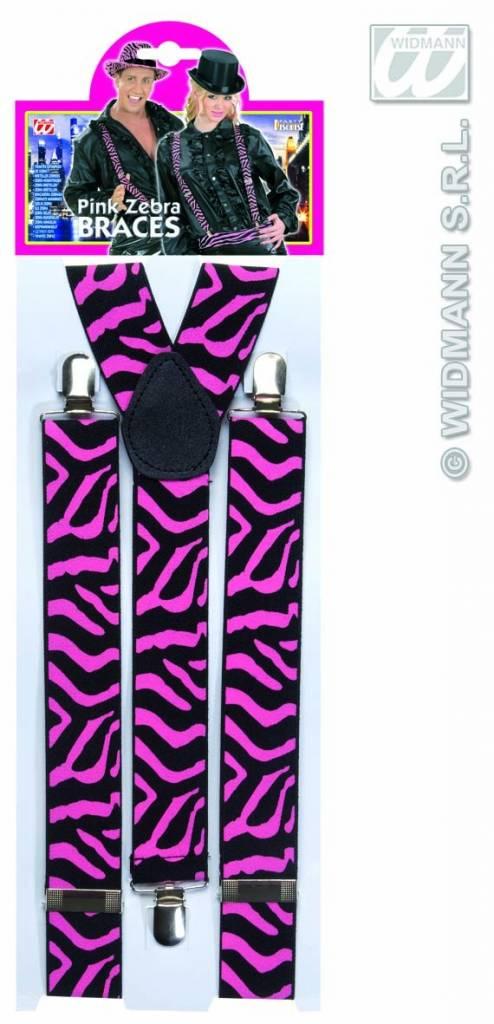 Bretels zebra zwart/roze