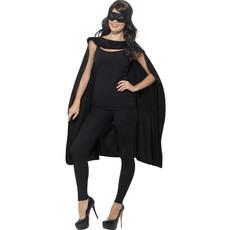 Superhero cape met masker zwart