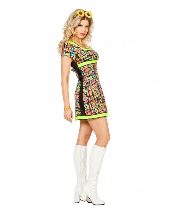 Neon Popart jurk vrouw