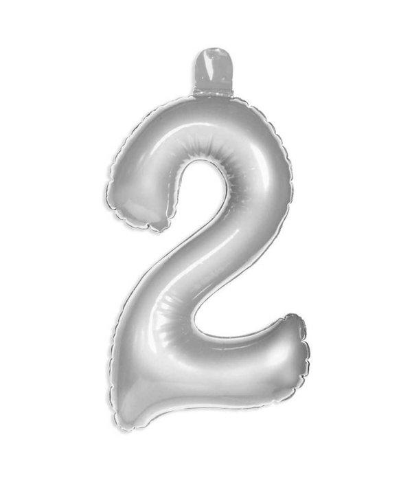 Opblaascijfer 2 Zilver