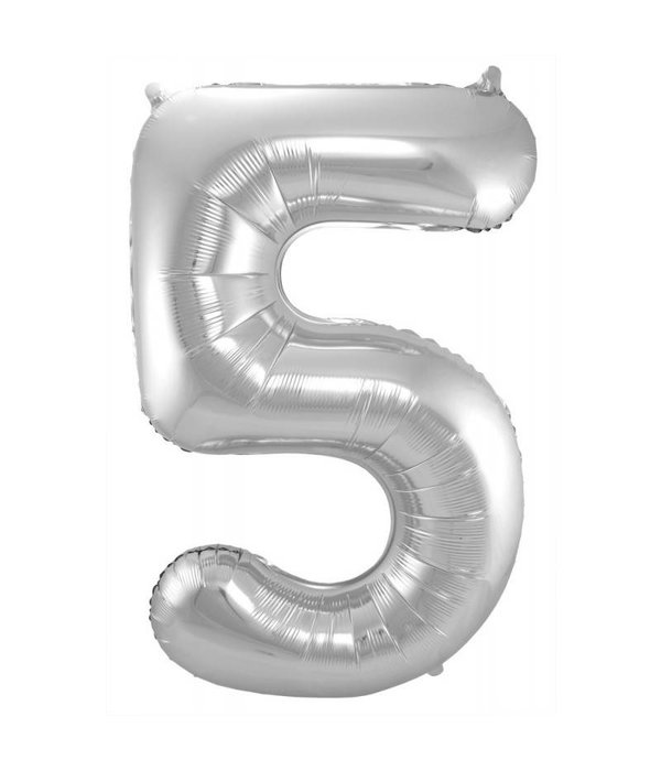 Zilveren Folieballon Cijfer 5 - 86 cm