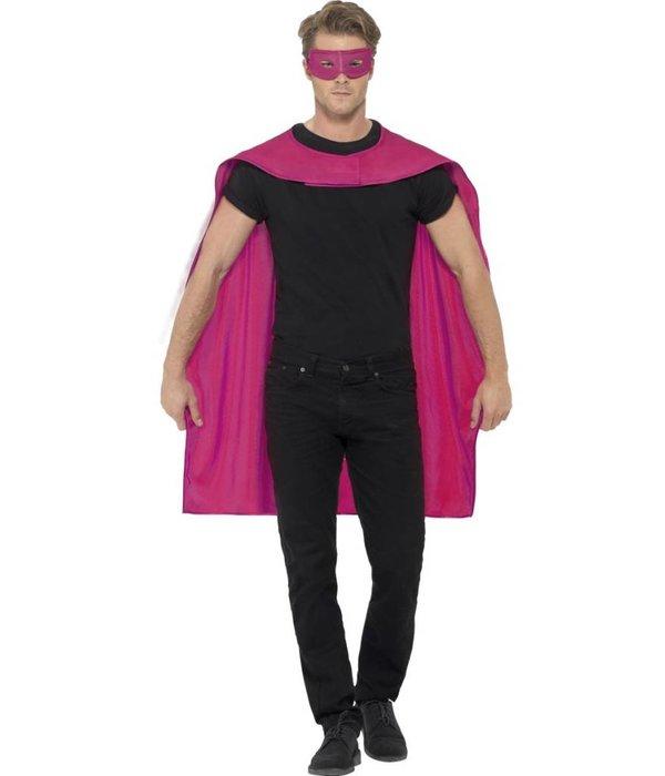 Superhero cape met masker pink