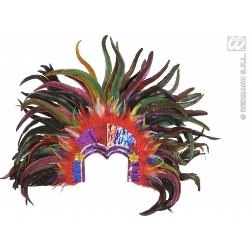 Hoofdband tropicana met pailletten en veren