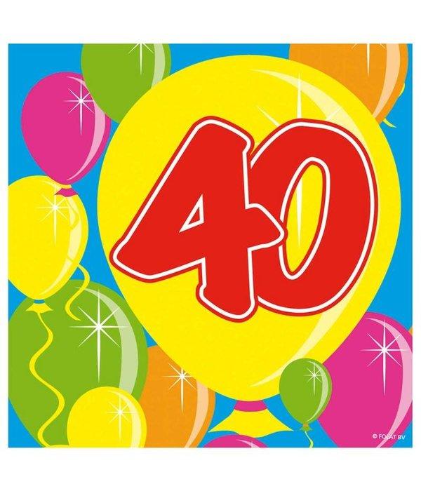 40 Jaar Servetten Balloons 25x25cm - 20 stuks