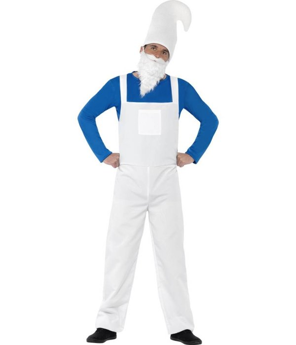 Kabouter kostuum man wit/blauw