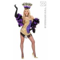 Las Vegas showgirl kostuum goud/paars