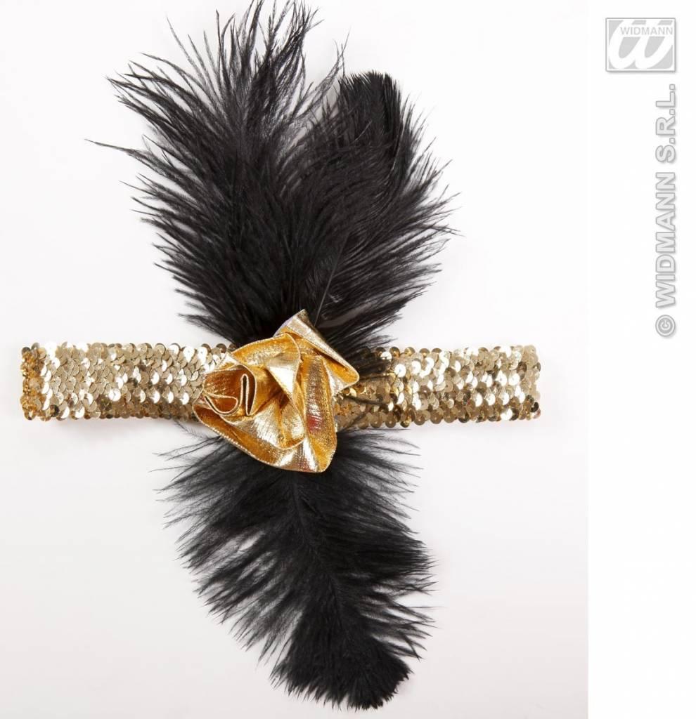 1920's pailletten hoofdband goud met bloem en veren